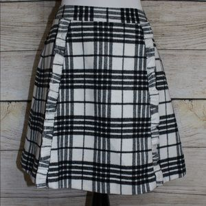 Plaid Skirt with Ruffle Front